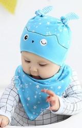 เซ็ตหมวกเด็กเล็กมาพร้อมผ้ากันเปื้อนลายนกฮูก สกรีนรูปดาว