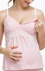 เสื้อคลุมท้องแบบสายเดี่ยวเปิดให้นมหลังคลอดได้ แต่งลูกไม้ขาวช่วงใต้อก