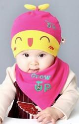 เซ็ตหมวกเด็กลายหน้าการ์ตูนสกรีน Grow Up มาพร้อมผ้ากันเปื้อน