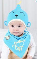 เซ็ตหมวกเด็กเล็กลายลิงมาพร้อมผ้ากันเปื้อน DANDY BEBE
