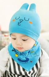 เซ็ตหมวกเด็กลายกระต่ายหูตั้งมาพร้อมผ้ากันเปื้อน จาก GZMM