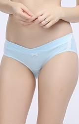 กางเกงในคนท้องแบบเอวต่ำด้านข้างแต่งลูกไม้ขาว