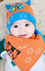 เซ็ตหมวกเด็กเล็กลายแมวเหมียวและปลาน้อย TUTUYA