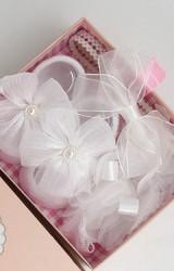 เซ็ตถุงเท้าเด็กมาพร้อมสายคาดผมเซ็ตโทนสีขาวครีม ถุงเท้าแต่งดอกไม้ สายคาดดอกไม้แต่งโบว์และโบว์ซ้อน